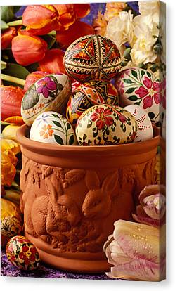 Easter Eggs In Flower Pot Canvas Print by Garry Gay