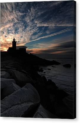 Eastern Point Lighthouse At Sunrise Canvas Print by Dave Storym