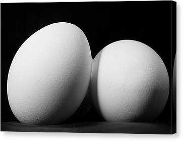 Eggs In Black And White Canvas Print by Lori Coleman
