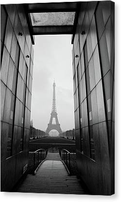 Eiffel Tower And Wall For Peace Canvas Print by Cyril Couture @