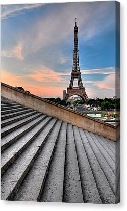 Eiffel Tower At Sunrise, Paris Canvas Print by Romain Villa Photographe