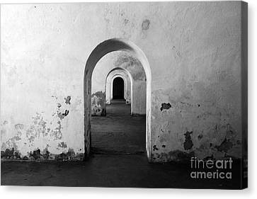 El Morro Fort Barracks Arched Doorways San Juan Puerto Rico Prints Black And White Canvas Print by Shawn O'Brien