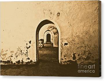El Morro Fort Barracks Arched Doorways San Juan Puerto Rico Prints Rustic Canvas Print by Shawn O'Brien