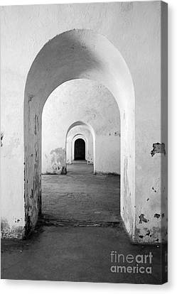 El Morro Fort Barracks Arched Doorways Vertical San Juan Puerto Rico Prints Black And White Canvas Print by Shawn O'Brien
