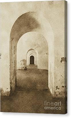 El Morro Fort Barracks Arched Doorways Vertical San Juan Puerto Rico Prints Vintage Canvas Print by Shawn O'Brien