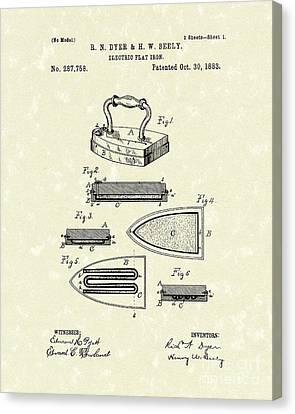 Electric Flat Iron 1883 Patent Art Canvas Print by Prior Art Design