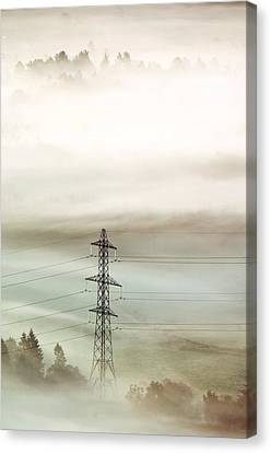 Electricity Pylon In Fog Canvas Print by Duncan Shaw
