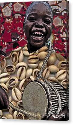 Elegua Tamborine Canvas Print by Liz Loz