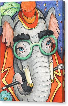 Elephant In Glasses Canvas Print by Amy S Turner