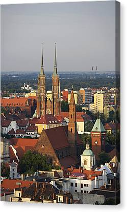 Elevated View Of Wroclaw With Church Spires Canvas Print by Guy Vanderelst