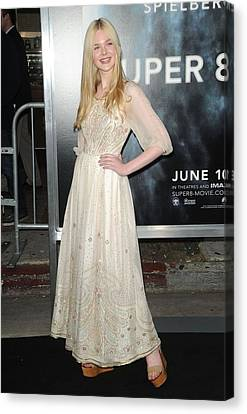 Elle Fanning Wearing A Vintage Dress Canvas Print by Everett