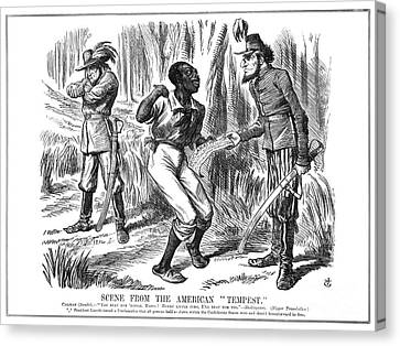 Emancipation Cartoon, 1863 Canvas Print by Granger