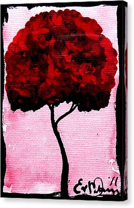 Emily's Trees Red Canvas Print by Lizzy Love of Oddball Art Co
