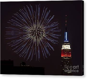 Empire State Fireworks Canvas Print by Susan Candelario