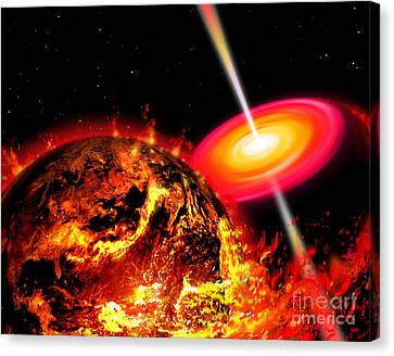 End Of The World The Earth Destroyed Canvas Print by Ron Miller
