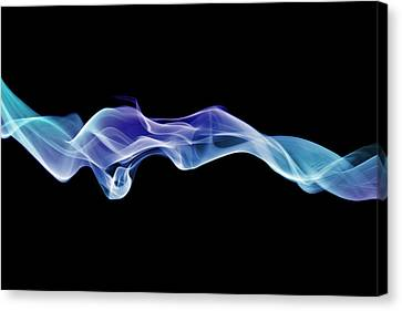 Energetic Spirals Of Blue Smoke Canvas Print by Anthony Bradshaw