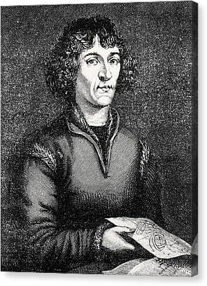 Engraving Of Nicolas Copernicus, Polish Astronomer Canvas Print by Dr Jeremy Burgess