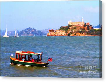 Enjoying The San Francisco Bay With Alcatraz Island In The Distance . 7d14323 Canvas Print by Wingsdomain Art and Photography