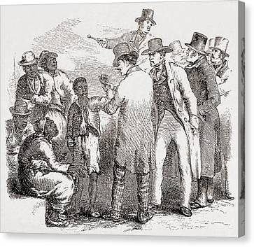 Enslaved African American Sold At An Canvas Print by Everett