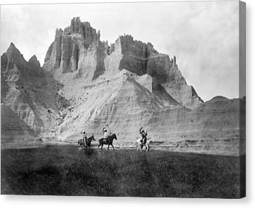 Entering The Badlands, Three Sioux Canvas Print by Everett