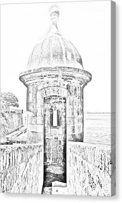 Entrance To Sentry Tower Castillo San Felipe Del Morro Fortress San Juan Puerto Rico Bw Line Art Canvas Print by Shawn O'Brien