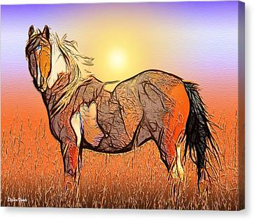 Equestrian Sunset Canvas Print by Stephen Younts