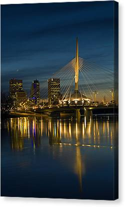 Esplanade Bridge Over Red River Canvas Print by Mike Grandmailson