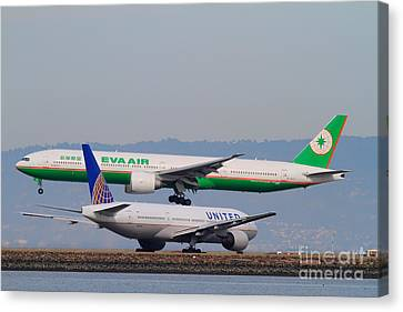 Eva Airways And United Airlines Jet Airplanes At San Francisco International Airport Sfo . 7d12256 Canvas Print by Wingsdomain Art and Photography