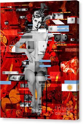 Eva Peron Nude En Rouge Canvas Print by Karine Percheron-Daniels