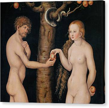 Eve Offering The Apple To Adam In The Garden Of Eden Canvas Print by The Elder Lucas Cranach