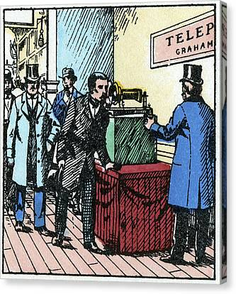 Exhibition Of Bell's Telephone, 1876 Canvas Print by Cci Archives