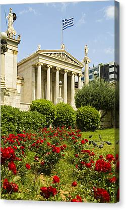 Exterior Of The Athens Academy, Greece Canvas Print by Richard Nowitz