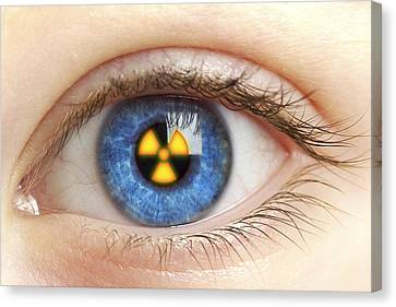 Eye With Radiation Warning Sign Canvas Print by Pasieka
