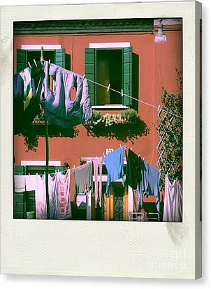 Facades Of Burano. Venice Canvas Print by Bernard Jaubert