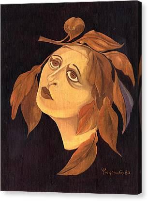 Face In Autumn Leaves Canvas Print by Rachel Hershkovitz