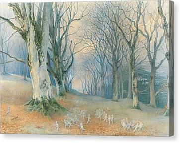 Fairies And Squirrels Canvas Print by Richard Doyle
