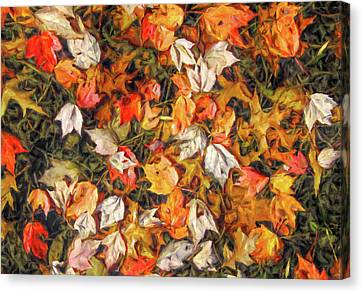 Fall Autumn Leaves On Water Canvas Print by Randy Steele
