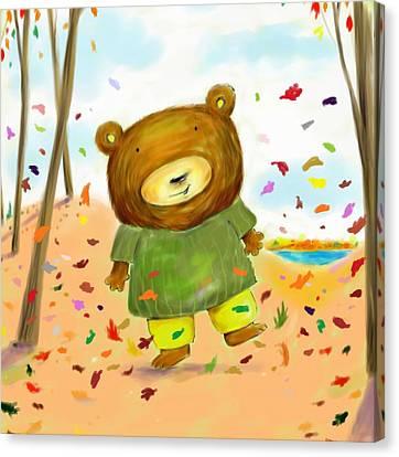 Fall Bear Canvas Print by Scott Nelson