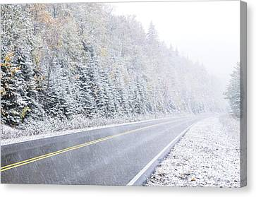 Fall Color And Snow Along The Highland Scenic Highway Canvas Print by Thomas R Fletcher