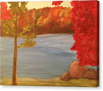 Fall On River Canvas Print by Paula Brown
