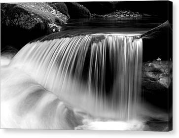 Falling Water Black And White Canvas Print by Rich Franco