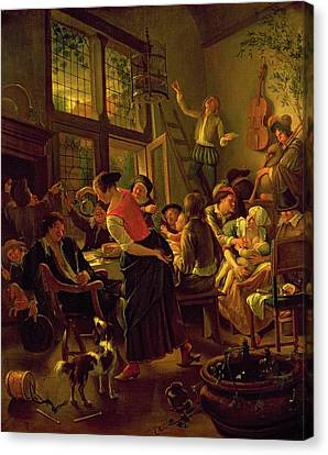 Family Meal Canvas Print by Jan Havicksz Steen