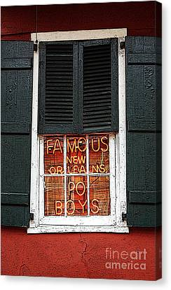 Famous New Orleans Po Boys Red Neon Window Sign Poster Edges Digital Art Canvas Print by Shawn O'Brien