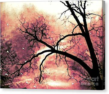 Fantasy Surreal Gothic Orange Black Tree Limbs  Canvas Print by Kathy Fornal