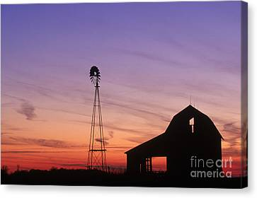 Farm At Sunset Canvas Print by David Davis and Photo Researchers