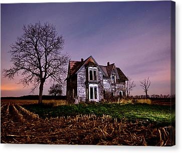 Farm House At Night Canvas Print by Cale Best