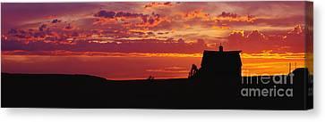 Farm Sunset Canvas Print by Joe Sohm and ChromoSohm and Photo Researchers