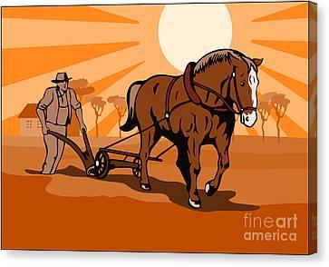 Farmer And Horse Plowing Farm Retro Canvas Print by Aloysius Patrimonio