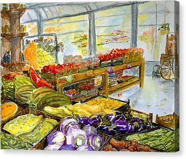 Farmer's Market In Fort Worth Texas Canvas Print by Barbara Pommerenke