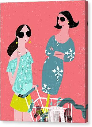 Fashion Woman Holding Trolley Canvas Print by Luciano Lozano